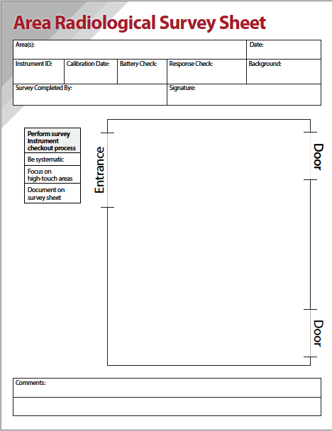 Area Radiological Survey Sheet