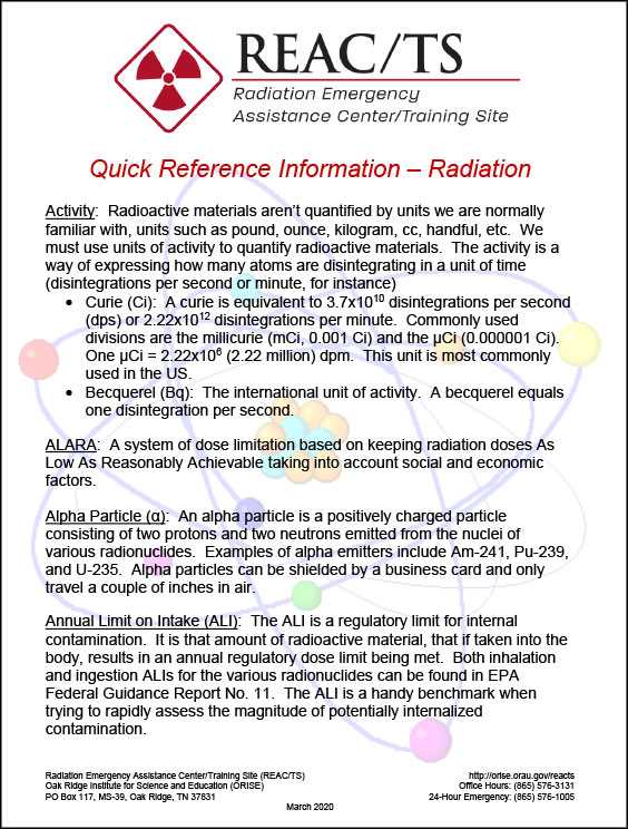 REAC/TS Radiation Quick Reference