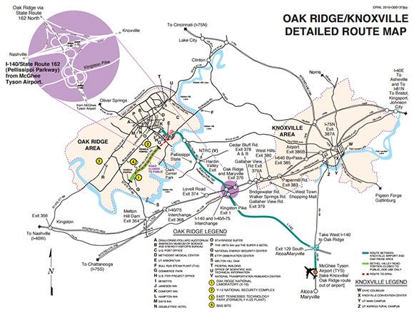 Oak Ridge Knoxville Area Map